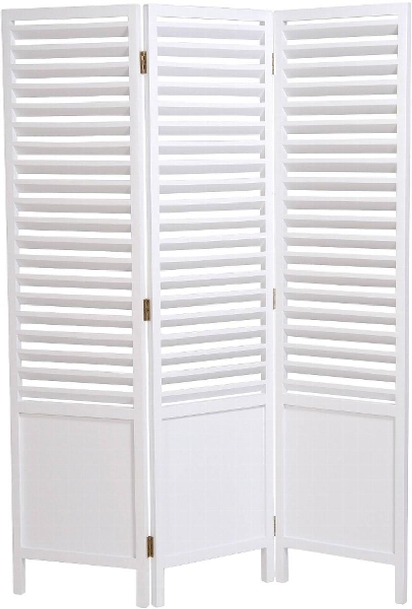 Casa Padrino Landhausstil Raumteiler Weiß 121 X 3 X H. 160 Cm   Faltbarer  Raumteiler