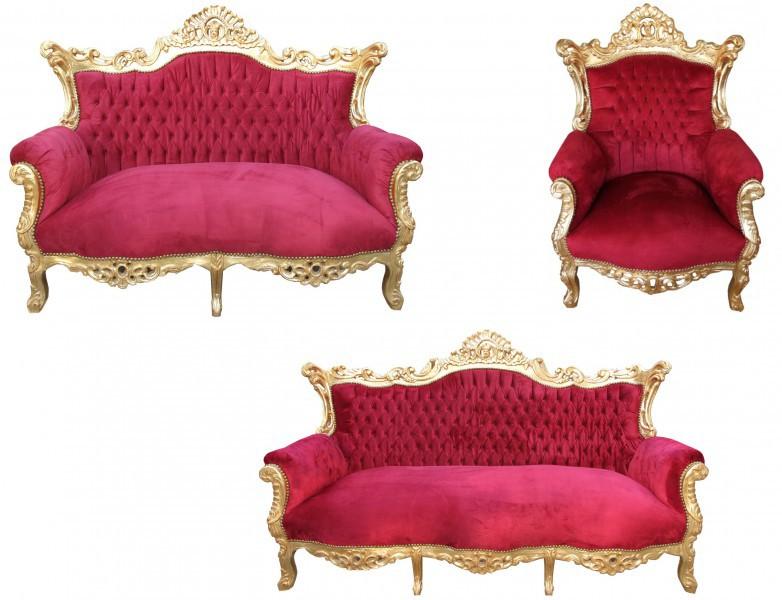Casa Padrino Barock Wohnzimmer Set Master Bordeaux Rot/ Gold - 3Er
