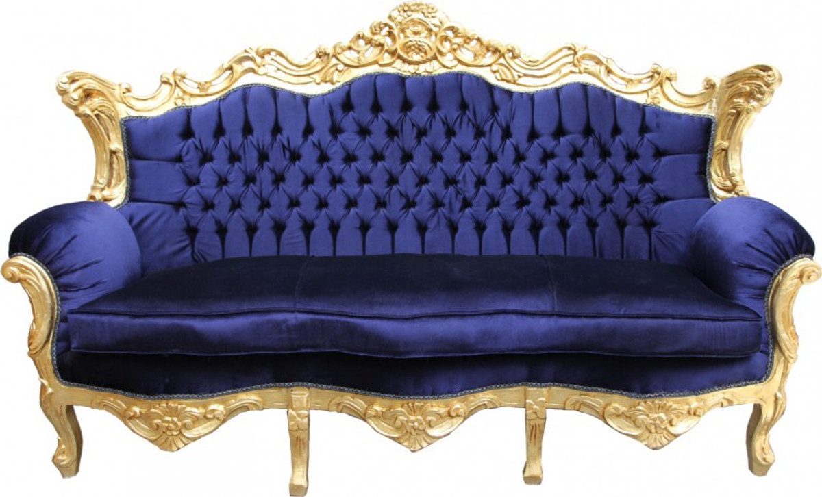 Casa Padrino Barock Sofa Master Royal Blau / Gold ...