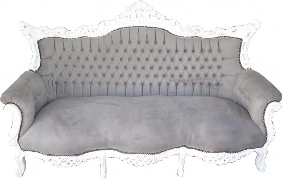 Casa Padrino Barock 3er Sofa Master Grau Weiß Wohnzimmer Möbel
