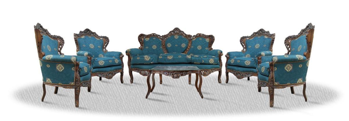 Casa Padrino Barock Sofa Set 3er Sofa 4 Sessel Und Tisch Mit