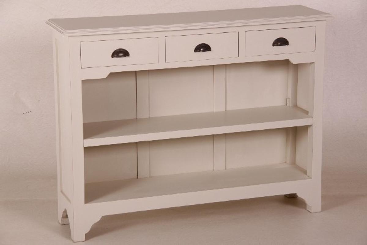 Casa Padrino Landhaus Stil Konsolen Tisch Mit 3 Schubladen Weiß   Shabby  Chic Möbel
