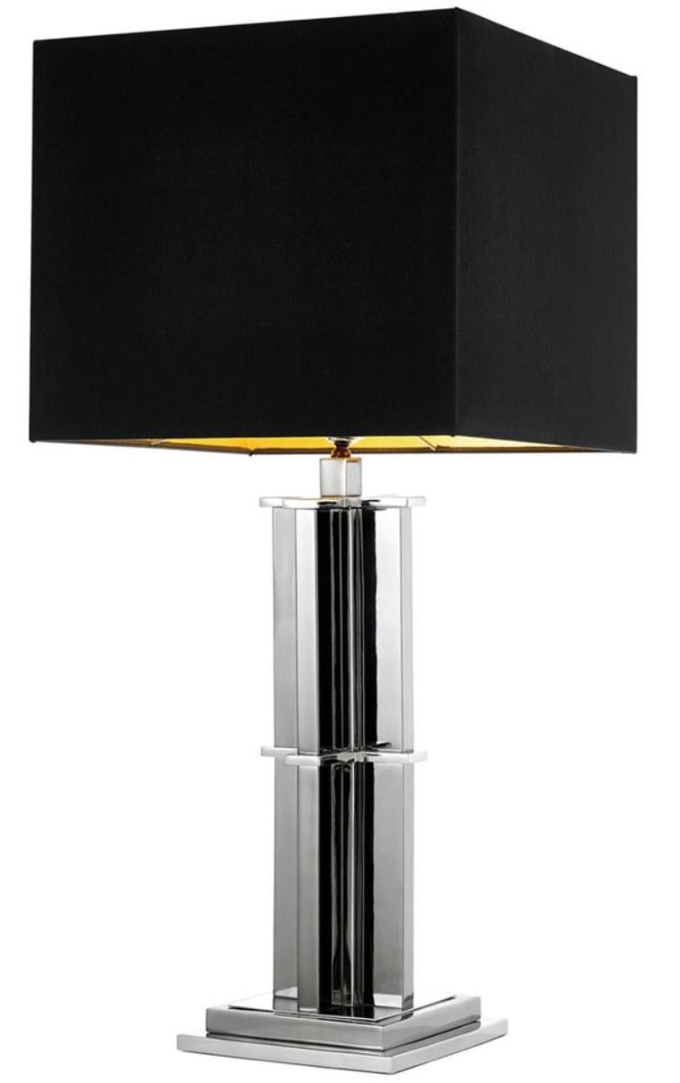 Casa Padrino Luxus Tischleuchte silber mit schwarzem ...