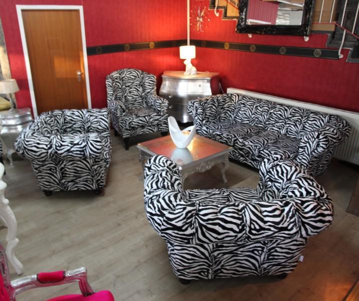Casa Padrino Designer Chesterfield Wohnzimmer Garnitur   Sofa + 3 Sessel  Zebra   Luxus Barock Möbel ...