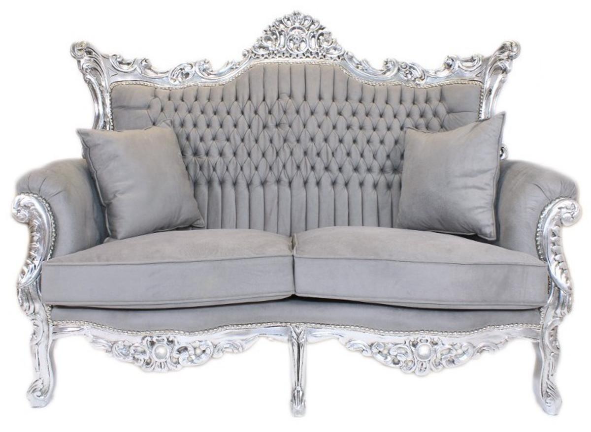 Casa Padrino Barock Wohnzimmer Set Master Grau Silber 2er Sofa