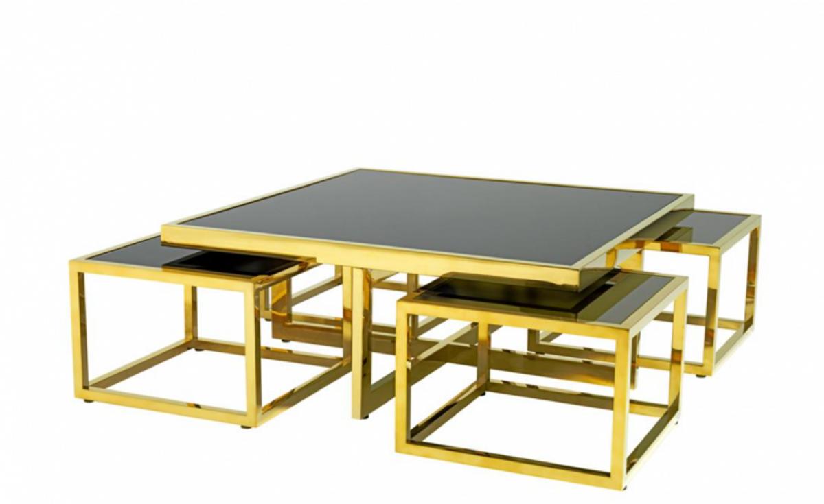 Casa Padrino Luxus Art Deco Designer Couchtisch 5er Set Gold Mit