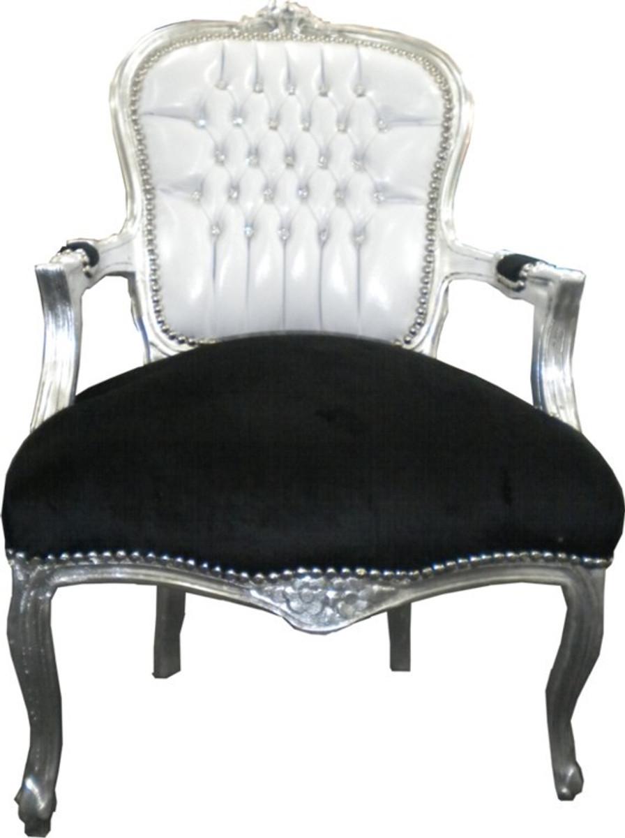 Casa Padrino Barock Salon Stuhl Weiß Schwarz Bling Bling