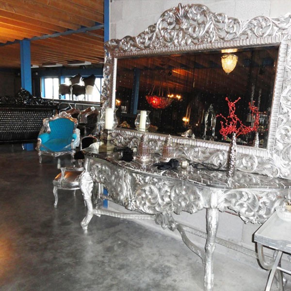 Riesige Casa Padrino Barock Spiegelkonsole Silber Mit Schwarzer  Marmorplatte   Luxus Wohnzimmer Möbel Konsole Mit Spiegel