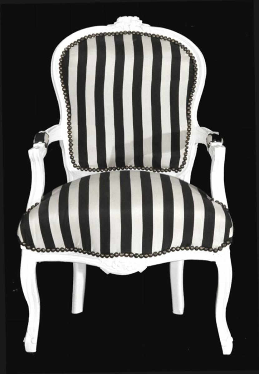 casa padrino barock salon stuhl schwarz wei streifen wei m bel gestreift kaufen bei. Black Bedroom Furniture Sets. Home Design Ideas