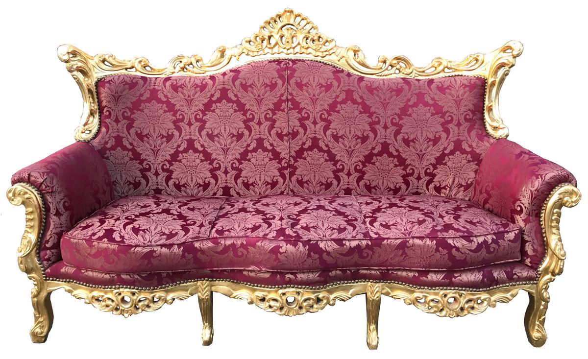 Casa Padrino Barock 3er Sofa Bordeaux Rot Muster / Gold - Wohnzimmer ...