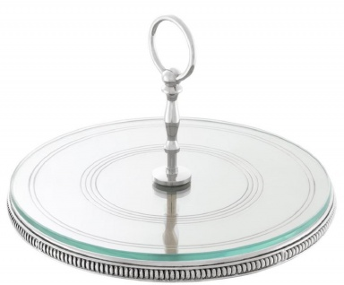 Casa Padrino Luxus Kuchen Servierplatte mit Tragegriff Silber Ø 29 x H. 18, 5 cm - Luxus Etagere 1-Stufig - Vorschau 1