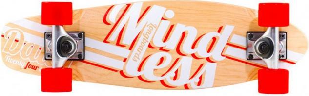Mindless Stained Daily Oldschool Skateboard Wood Cruiser Komplettboard Natural / White / Red - Old School Complete Skateboard mit Koston Kugellagern