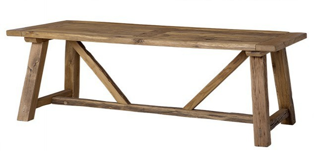 Casa Padrino Vintage Esstisch Eiche Rustikal Massiv 230 x 100 cm Lille -  Landhaus Stil Tisch massives Eichenholz