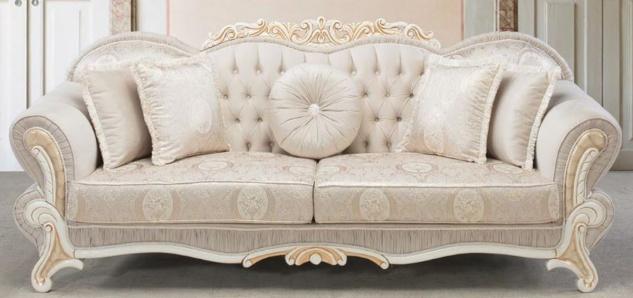 Casa Padrino Luxus Barock Sofa Hellrosa / Weiß / Gold 237 x 90 x H. 99 cm - Wohnzimmer Sofa mit dekorativen Kissen - Barockstil Möbel