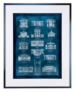 Casa Padrino Luxus Bild / Druck von französischen Villen mit silberfarbenem Rahmen 83, 5 x H. 103, 5 cm - Luxus Wohnzimmer Accessoires