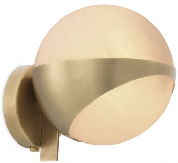 Casa Padrino Luxus Wandleuchte Antik Messingfarben / Weiß 14 x 18 x H. 19 cm - Elegante Metall Wandlampe mit rundem Glas Lampenschirm