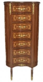 Casa Padrino Barock Kommode Mahagoni Intarsien / Gold mit 7 Schubladen Oval - Antik Stil