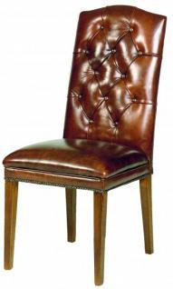 Casa Padrino Designer Chesterfield Esszimmer Stuhl ModEF 266 Braun Leder /  Braun   Hotelmöbel   Buche