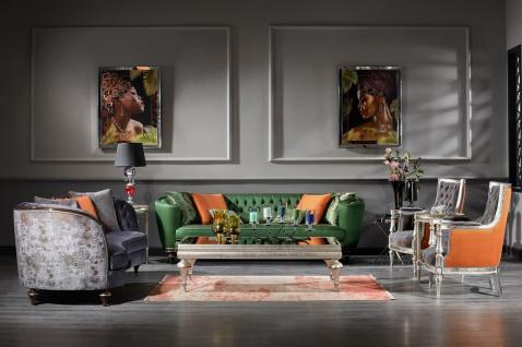 Casa Padrino Luxus Barock Wohnzimmer Set Lila / Grün / Silber - 2 Sofas & 2 Sessel & 1 Couchtisch - Handgefertigte Wohnzimmer Möbel im Barockstil - Edel & Prunkvoll