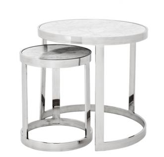 Casa Padrino Luxus Art Deco Designer Beistelltisch 2er Set - Luxus Hotel Tisch