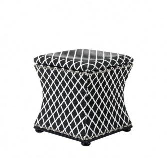 Casa Padrino Luxus Sitz Hocker Schwarz & Weiß 47 x 47 x H. 52 cm - Luxus Qualität