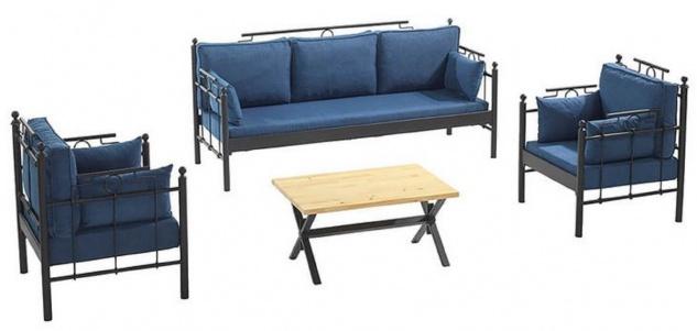 Casa Padrino Jugendstil Gartenmöbel Set Blau / Schwarz - 1 Sofa & 2 Sessel & 1 Tisch - Garten & Terrassen Möbel im Jugendstil