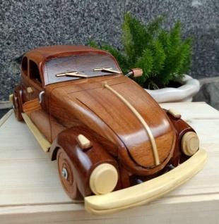 Casa Padrino Deko Oldtimer Auto Braun / Naturfarben 32 x 12 x H. 11 cm - Handgefertigtes Holz Auto - Wohnzimmer Deko - Schreibtisch Deko - Deko Accessoires