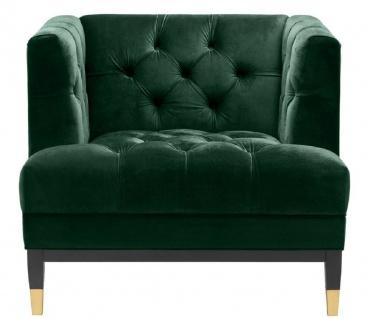 Casa Padrino Luxus Wohnzimmer Sessel Grün / Schwarz / Messingfarben 93 x 85 x H. 79 cm - Chesterfield Möbel - Vorschau 2