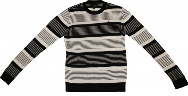 Hurley Skateboard Pullover Black/White Stripes Sweater 1 B Ware