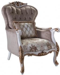 Casa Padrino Luxus Barock Sessel mit Kissen Grau / Mehrfarbig / Weiß / Bronze 85 x 76 x H. 110 cm - Wohnzimmer Sessel mit Blumenmuster und wunderschönen Verzierungen