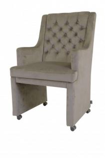 Casa Padrino Designer Esszimmer Stuhl / Sessel ModEF 313 Grau Samt - Hoteleinrichtung - Sessel auf Rollen - Vorschau 3