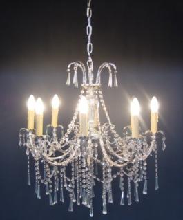 Casa Padrino Barock Kristall Kronleuchter 8-Flammig Silber - Hängeleuchte Lüster Hängelampe Deckenlampe