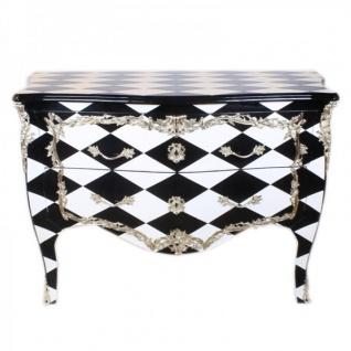 Casa Padrino Barock Kommode Schwarz / Weiß Karo / Silber 130 cm - Handgefertigt aus Massivholz