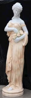 Casa Padrino Jugendstil Marmor Deko Skulptur Dame mit Blumen Weiß / Beige 40 x 40 x H. 192 cm - Gartendeko Statue - Terrassen Deko Figur