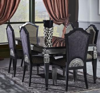 Casa Padrino Luxus Barock Esszimmer Set - Esstisch und 6 Esszimmerstühle - Esszimmermöbel im Barockstil