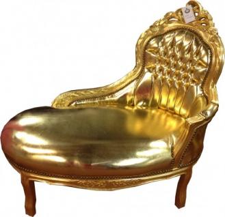 Barock Kinder Chaiselongue Gold/Gold Lederoptik - Tron Barock Möbel