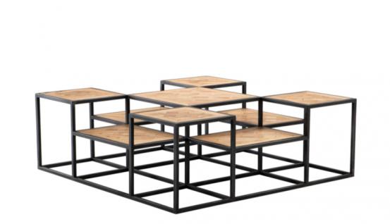 Casa Padrino Luxus Art Deco Designer Eichenholz Couchtisch - Wohnzimmer Salon Tisch - Luxus Kollektion