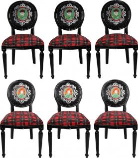 Casa Padrino Luxus Barock Esszimmer Set Schottland Mann und Frau Mehrfarbig / Schwarz 48 x 50 x H. 98 cm - 6 handgefertigte Esszimmerstühle - Barock Esszimmermöbel