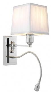 Casa Padrino Luxus Wandleuchte Silber mit weißem Lampenschirm 14 x 25 x H. 30, 5 cm - Hotel Kollektion