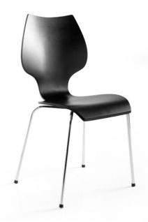 Designer Stuhl aus Holz und verchromtem Stahl Schwarz, Esszimmerstuhl, moderner Wohnzimmerstuhl