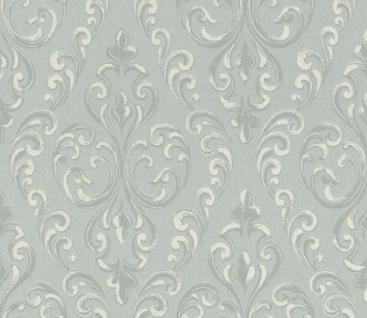 Casa Padrino Barock Textiltapete Grau / Silber / Weiß 10, 05 x 0, 53 m - Hochwertige Wohnzimmer Tapete