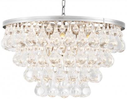 Casa Padrino Luxus Glas Kronleuchter Silber Ø 65 x H. 41 cm - Edler Wohnzimmer Kronleuchter - Luxus Qualität