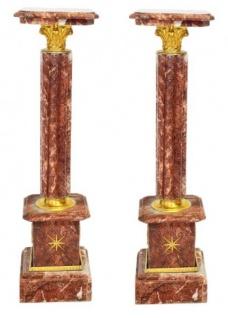 Casa Padrino Barock Marmor Säulen Set Rot / Gold - Marmor Säule (2 Stk)