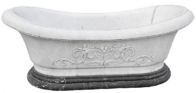 Casa Padrino Luxus Barock Badewanne Weiß / Schwarz 180 cm - Freistehende Marmor Badewanne - Bad Accessoires - Edel & Prunkvoll