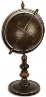 Casa Padrino Luxus Metall Globus mit Ständer Bronzefarben 30, 7 x 35 x H. 72, 8 cm - Schreibtisch Deko - Büro Deko - Wohnzimmer Deko