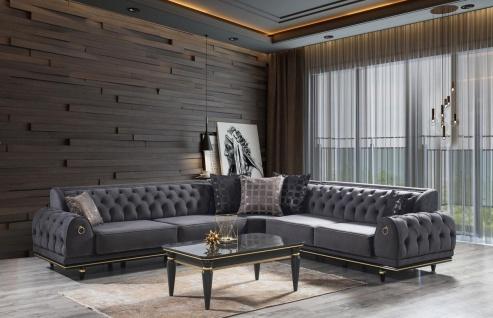 Casa Padrino Luxus Art Deco Chesterfield Wohnzimmer Set Grau / Schwarz / Gold - 1 Ecksofa mit Kissen & 1 Couchtisch mit Glasplatte - Edle Wohnzimmer Möbel - Luxus Qualität