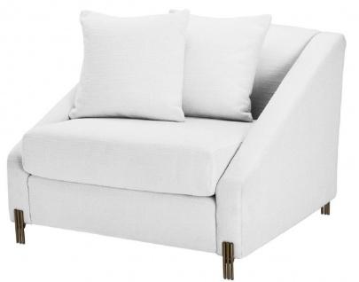 Casa Padrino Luxus Sessel Weiß / Messingfarben 88 x 94 x H. 73 cm - Wohnzimmer Sessel mit 2 Kissen - Luxus Möbel