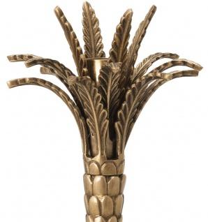 Casa Padrino Luxus Kerzenhalter Vintage Messingfarben Ø 13 x H. 36 cm - Handgefertigter Messing Kerzenständer im Palmen Design - Luxus Accessoires - Vorschau 3
