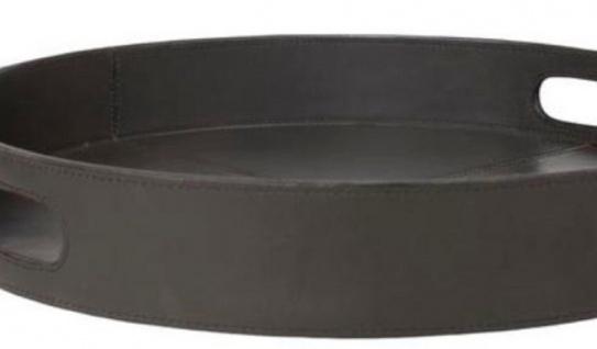 Casa Padrino Luxus Tablett mit 2 Tragegriffen Anthrazit Ø 40 x H. 6 cm - Mit Leder bezogenes rundes Serviertablett - Gastronomie Accessoires - Vorschau 2