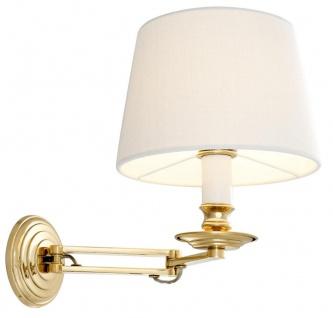 Casa Padrino Luxus Wandleuchte mit Schwenkarm Gold / Weiß 22 x 21, 5 x H. 27, 5 cm - Hotel & Restaurant Leuchte